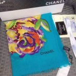 CHANEL-02-2 香奈兒時尚走秀款女士藍色羊絨長款圍巾
