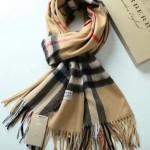 Lvaaa.tw-04 巴寶莉人氣經典款純卡其色格子純山羊絨長款圍巾