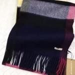 Lvaaa.tw-011-4 巴寶莉經典款黑色大格子羊絨披肩圍巾