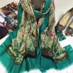 GUCCI圍巾-20-01 專櫃爆款鳥語花香天竺葵印花羊絨圍巾
