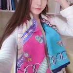HERMES圍巾-28 愛馬仕時尚新品真絲緞面燙金手工卷邊大方巾