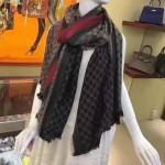 GUCCI圍巾-18 人氣熱銷時尚經典款20%真絲80%羊絨相混搭兩面兩色提花披肩