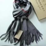Lvaaa.tw-04-3 巴寶莉人氣經典款深灰格子純山羊絨長款圍巾