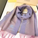 Lvaaa.tw-018-3 巴寶莉潮流最新款女士拼色羊絨長款流蘇圍巾