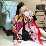HERMES圍巾-33-02 愛馬仕專櫃時尚新款頂級絲羊絨精致手工卷邊印花圍巾