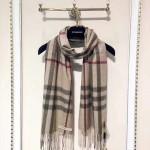Burberry-圍巾027-3 巴寶莉潮流英倫風金線格子山羊絨長款圍巾