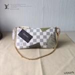 LV N63078-01 專櫃時尚新款Pochette Milla系列原版皮白色棋盤格單肩包