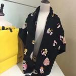 Fendi圍巾-4-01 芬迪原單頂級絲毛提小怪物元素花方