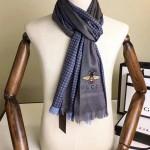 GUCCI圍巾-42 古馳秋冬新款經典格紋搭配小蜜蜂羊絨材質情侶款圍巾