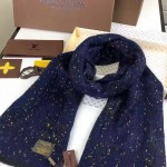 LV圍巾-36-2 路易威登姚晨同款頂級羊絨針織金絲海馬毛長款圍巾