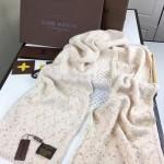 LV圍巾-36-3 路易威登姚晨同款頂級羊絨針織金絲海馬毛長款圍巾