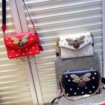 Gucci 451986-02 專櫃時尚新款蜜蜂與寶石配飾專櫃走秀款肩背包