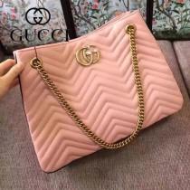GUCCI 453569-01 專櫃時尚新款粉色全皮單肩包