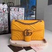 GUCCI 443496-3 時尚新款Marmont黃色波浪紋牛皮單肩斜挎包