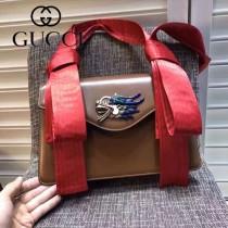 GUCCI 462333 專櫃走秀款龍頭設計棕色牛皮單肩斜挎包