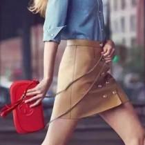 GUCCI 336752-6 時尚百搭女士紅色全皮鏈條單肩晚宴包