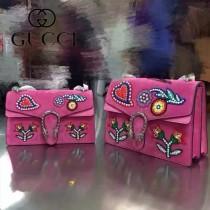 GUCCI 400235-018 人氣熱銷Dionysus系列古銀織紋虎頭馬刺扣手工彩繡花朵刺繡包