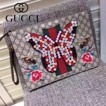 GUCCI 421666-01 米蘭時裝周限量版蝴蝶紐扣純手工刺繡手包