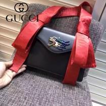 GUCCI 462333-3 專櫃走秀款龍頭設計黑色牛皮單肩斜挎包