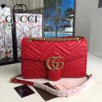 GUCCI 443496-2 時尚新款Marmont紅色波浪紋牛皮單肩斜挎包