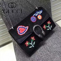 GUCCI 400249-030 歐美時尚新款女士Dionysus系列手工彩繡花朵刺繡包