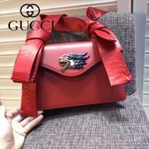 GUCCI 462333-2 專櫃走秀款龍頭設計紅色牛皮單肩斜挎包