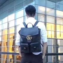 Gucci 431568 專櫃時尚新款黑色全皮Alessandro Michele系列雙肩背包