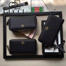GUCCI 456117-01 專櫃時尚新款黑色全皮拉鏈錢夾