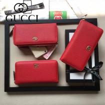 GUCCI 456117 專櫃時尚新款紅色全皮拉鏈錢夾