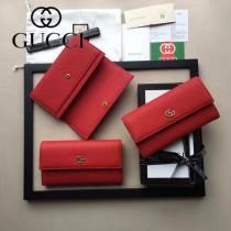 GUCCI 456116-5 專櫃時尚新款紅色全皮長夾