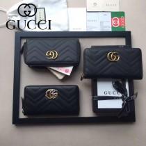 GUCCI 443123 人氣熱銷時尚新款黑色全皮拉鏈錢包