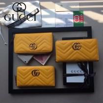 GUCCI 443123-03 人氣熱銷時尚新款黃色全皮拉鏈錢包