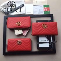 GUCCI 443123-01 人氣熱銷時尚新款紅色全皮拉鏈錢包