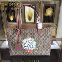 GUCCI 412096-06 專櫃時尚新款PVC配牛皮圖案系列購物袋