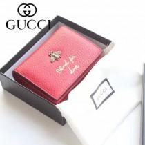 GUCCI 460185 人氣熱銷時尚新款小蜜蜂系列紅色全皮零錢包