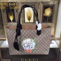 GUCCI 412096-05 專櫃時尚新款PVC配牛皮圖案系列購物袋