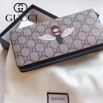 GUCCI 024-02 專櫃時尚新款PVC配牛皮拉鏈錢包