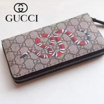 GUCCI 024-01 專櫃時尚新款PVC配牛皮拉鏈錢包