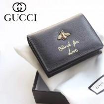 GUCCI 460185-02 人氣熱銷時尚新款小蜜蜂系列黑色全皮零錢包
