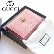 GUCCI 460185-01 人氣熱銷時尚新款小蜜蜂系列粉色全皮零錢包