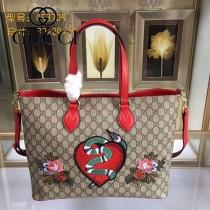 GUCCI 453705 專櫃時尚新款PVC配牛皮純手工刺繡購物袋