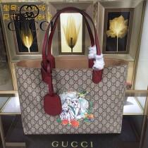 GUCCI 412096-04 專櫃時尚新款PVC配牛皮圖案系列購物袋