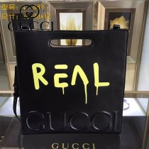 GUCCI 409378-02 專櫃時尚新款塗鴉系列全皮大號手提肩背包