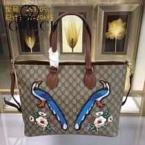 GUCCI 453705-01 專櫃時尚新款PVC配牛皮純手工刺繡購物袋