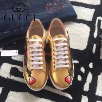 GUCCI鞋子-015-18 古馳早春新款上市花朵刺繡紅綠織帶情侶休閒鞋