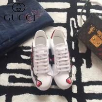 GUCCI鞋子-015-17 古馳早春新款上市花朵刺繡紅綠織帶情侶休閒鞋