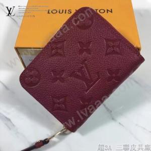 LV M60067-7 時尚新款紅色全皮壓花原版皮短款拉鏈零錢包