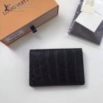 LV M91556 潮流時尚新款黑色鱷魚紋原版皮兩折卡片夾