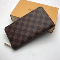 LV N60015-4 經典款男女通用ZIPPY咖啡色棋盤格長款拉鏈錢包