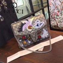 GUCCI 400235-022 全智賢同款刺繡系列PVC配磨砂絨皮大號酒神包